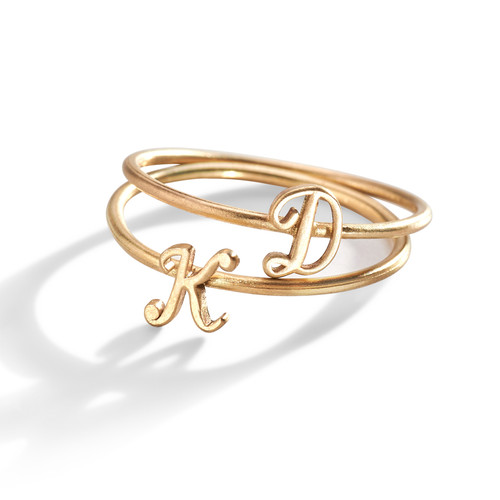 14K Gold Script Initial Letter Ring