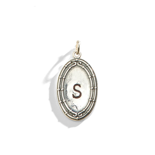 Bamboo Trim Oval Charm Medallion in Sterling Silver.
