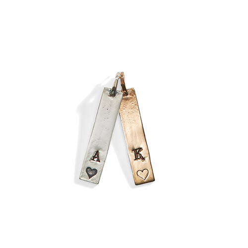 Janan Personalized Rectangle Charm with Heart in Sterling Silver and Golden Bronze.