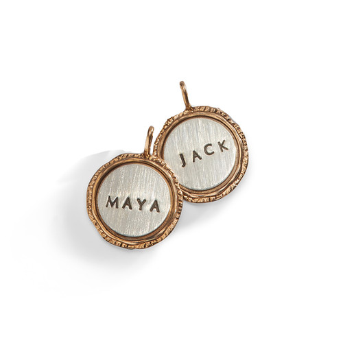 Flared Edge Personalized Name Charm with Golden Bronze Rim.