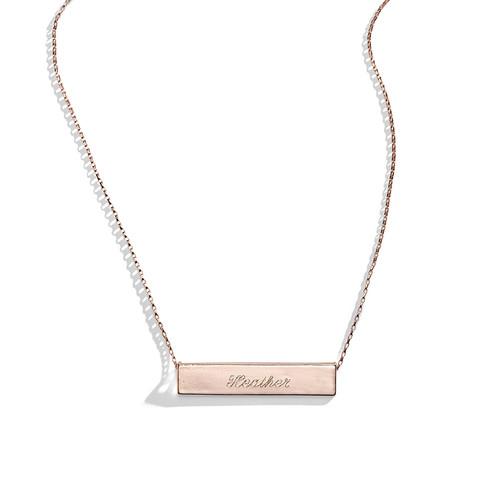 Twilight Rose Engraved Bar Nameplate Necklace