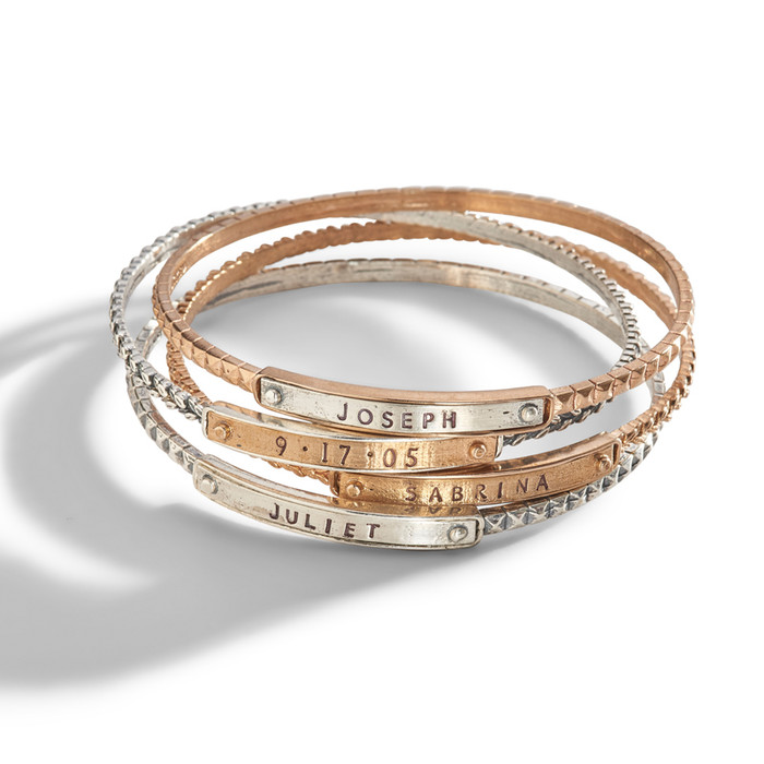 Ina Personalized Stacking Bangle Bracelet in sterling silver and bronze.