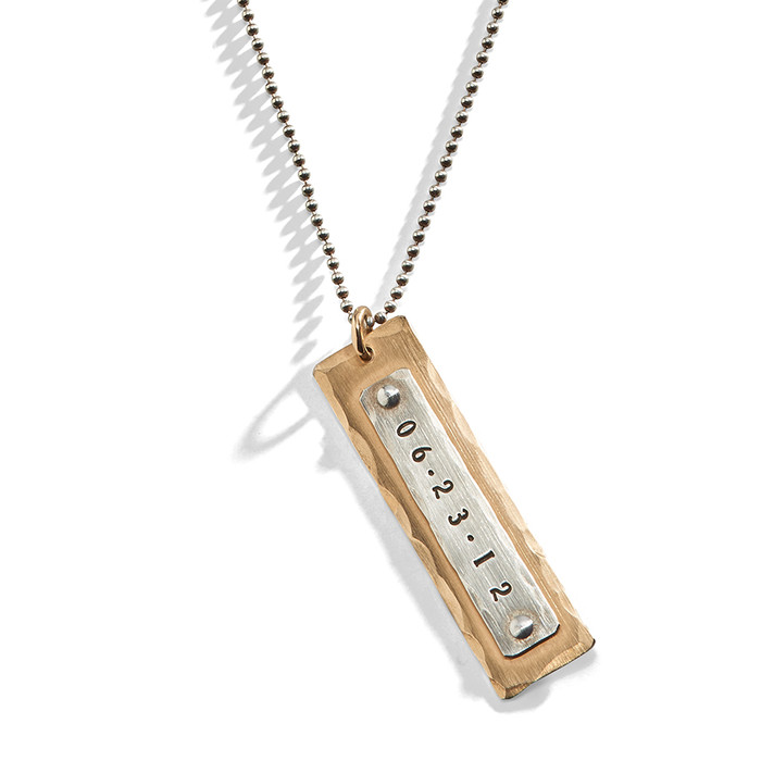 Arizona Sue Mens Personalized Necklace in Yellow Gold-Filled