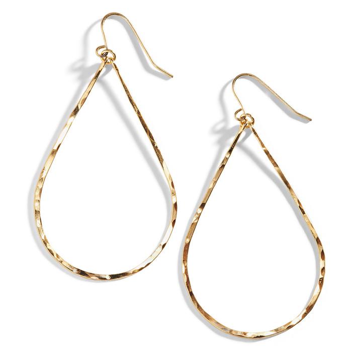 Minah Hammered Wire Earrings in Teardrop Shape.