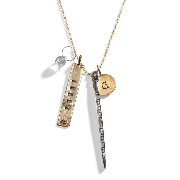 Diamond Dagger Personalized Charm Necklace with Golden Bronze.