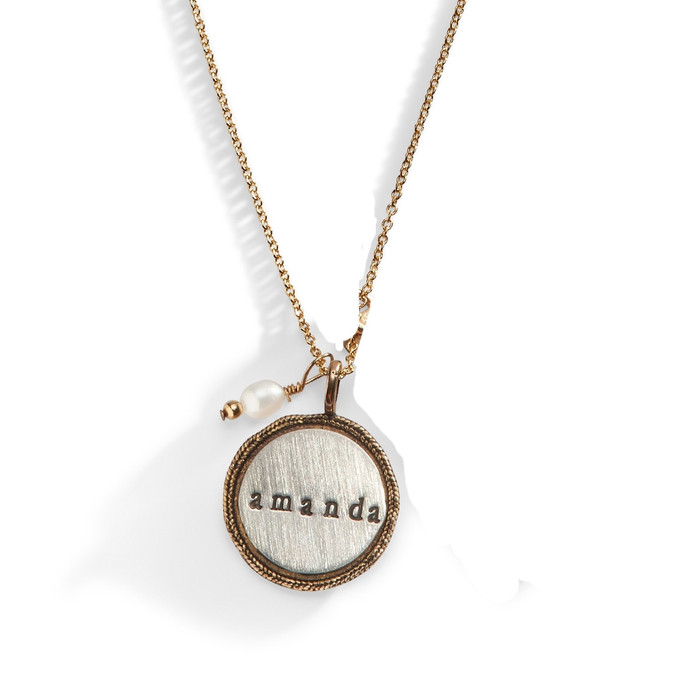 Bronze Dynasty Hand Stamped Charm Necklace