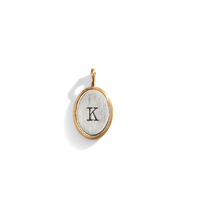 Double Rim Oval Initial Charm
