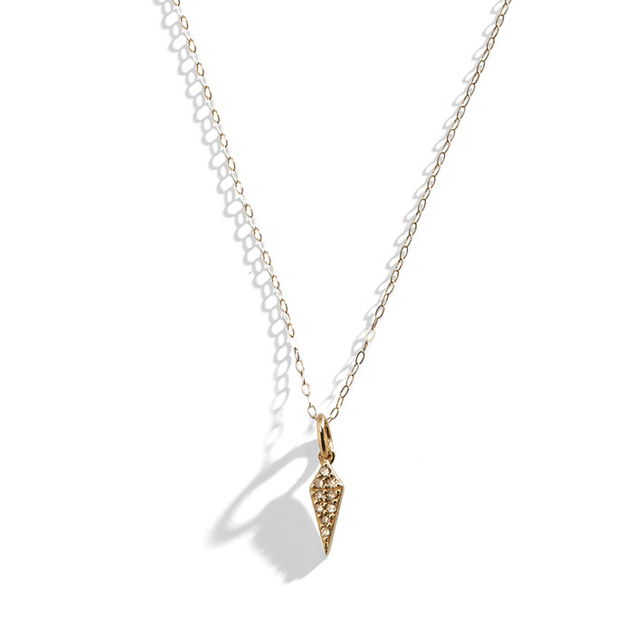 14K Yellow Gold and Diamond Mini Spike Necklace