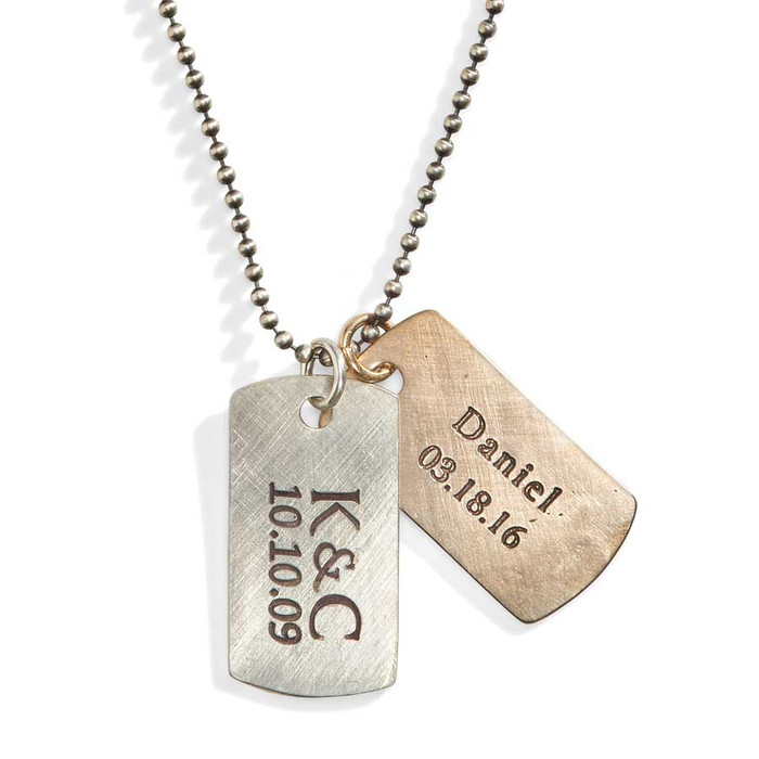Rustic Personalized Dog Tag Necklace