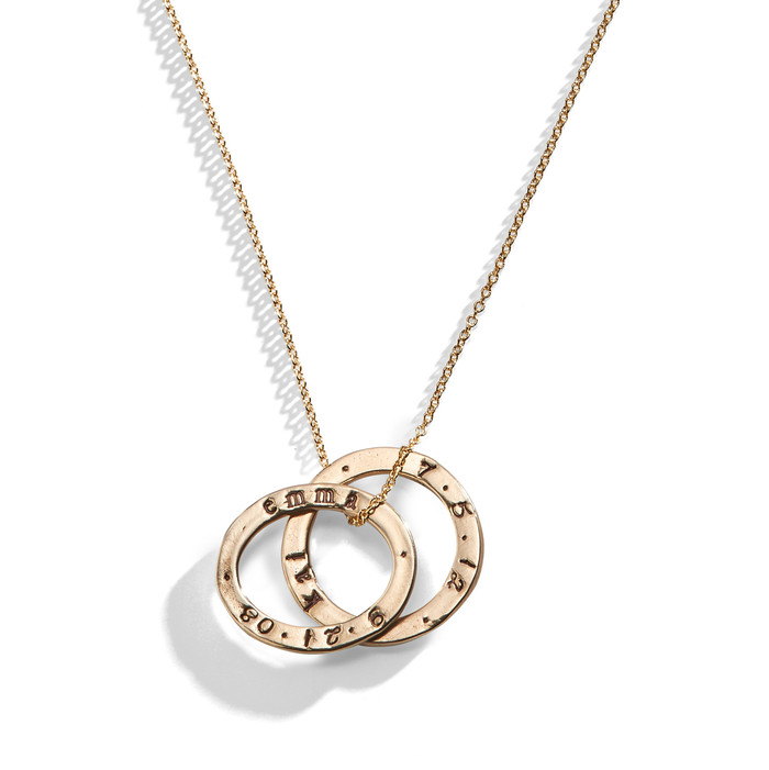 Celebrian Stacking Ring Necklace in Golden Bronze.