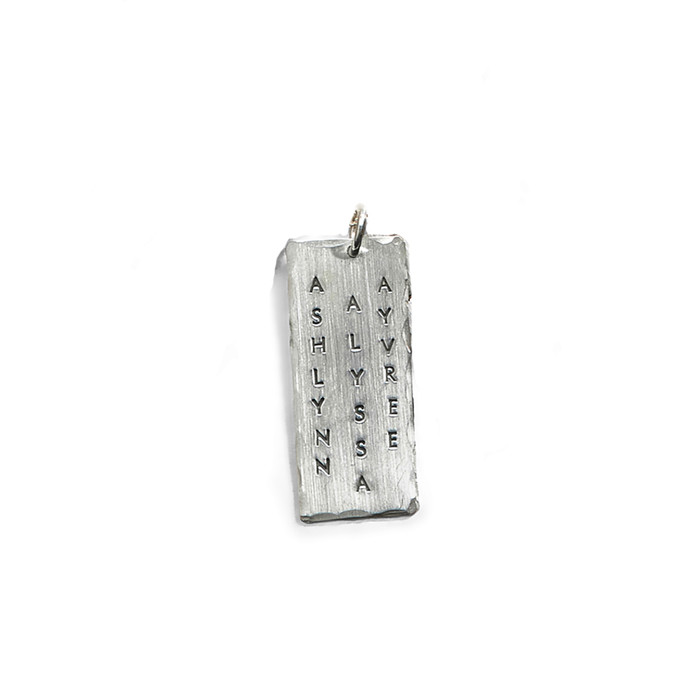 Super Model Triple Wide Personalized Charm in Sterling Silver.