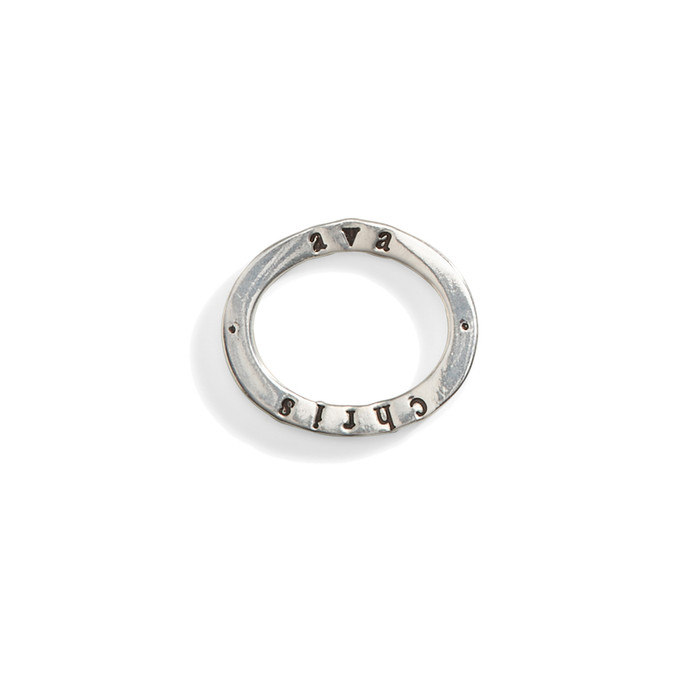 14K Gold Celebrian Small Oval Personalized Stacking Ring Charm in 14K White Gold.