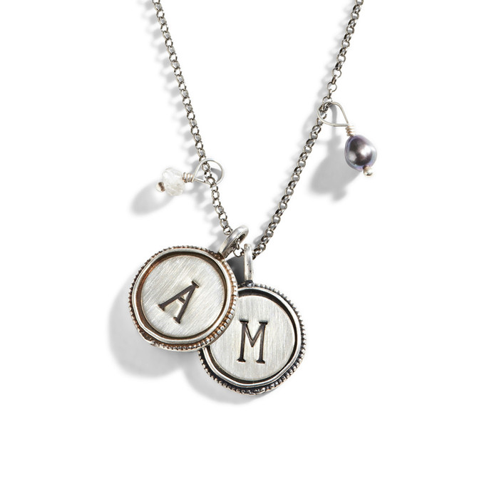 Vintage Initial Stamped Necklace