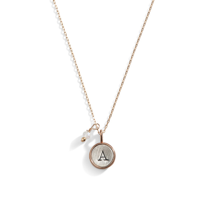 Super Small Initial Disc Necklace with Bronze Rim and Sterling Silver Center.
