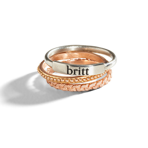 personalized stacking ring sted gold ring