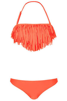 Topshop Bright Coral Fringe Bikini