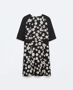 Zara Black Printed Pleated Dress