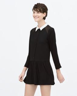 Zara Black Jumpsuit With Peter Pan White Collar