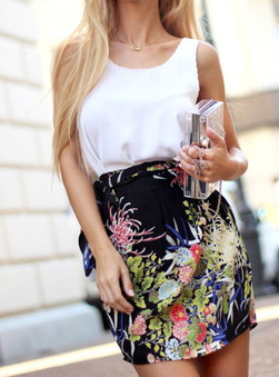 Zara Black Floral Wrap Skirt