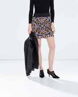 Zara Knitted Embroidered Geometric Skirt