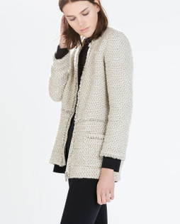 Zara Ecru Frayed Edge Textured Long Blazer