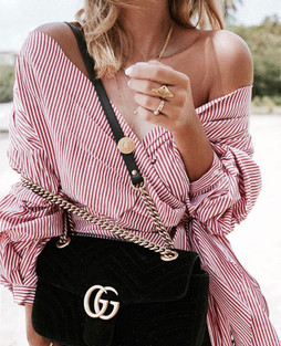 Zara Red Striped Blouse With Pleated Sleeves