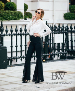 Zara Black Flared Trousers With Lace Inserts