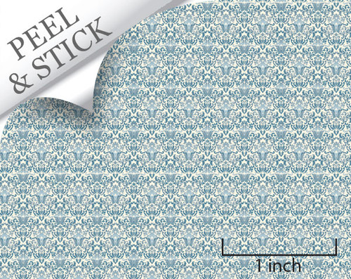 1 48 Peel And Stick Wallpaper Blue Damask True2scale