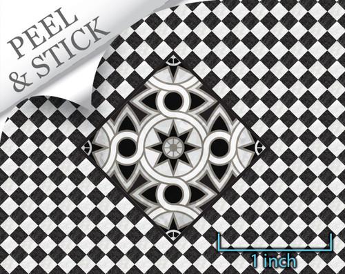 1:48 flooring: black and white marble medallion