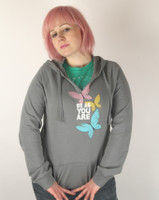 Be As You Are Pastel Butterflies Grey Ladies Hoodie Gray Hooded Sweatshirt