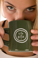 Life is Good Coin Logo Olive Green Cup Coffee Tea Dinner Mug Front, Do what you like, like what you do Mug Back