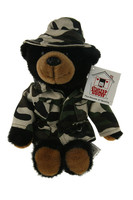 "Stuffed Animal House 11"" Black Bear Camouflage Coat Hat Outfit Plush Toy"