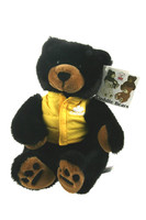 "Stuffed Animal House 12"" Black Bear Shatzi Wildlife Yellow Vest Cuddle Bear Plush Toy"