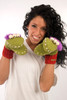 Delux Al the Alien Lime Green Warm Winter Mitts Wool Gloves Knit Out of the World Mittens Knitwits