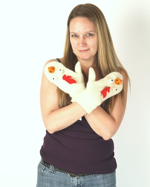 Delux Casey Chicken Ivory White Wool Knit Gloves Winter Mittens Knitwits
