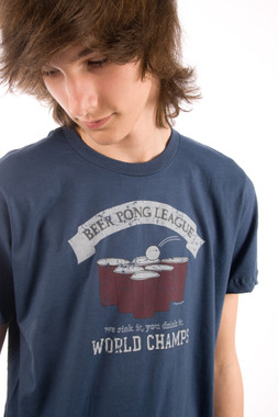 Be As You Are Beer Pong World Champion Tee Shirt Mens Blue T-Shirt Red Cups Top Front Zoom