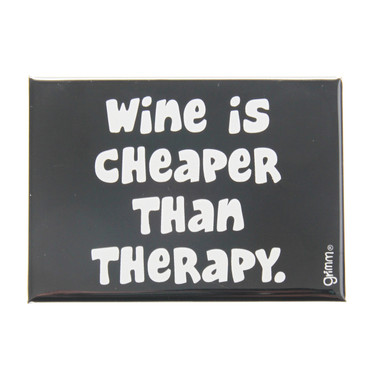 Grimm Wine Is Cheaper Than Therapy Refrigerator Fridge Kitchen Magnet Canadian Humour Funny Made in Canada