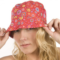 Puffin Gear Garden Retreat Solarweave Raspberry Red Bucket SPF Sun Hat Circles Design Made in Canada