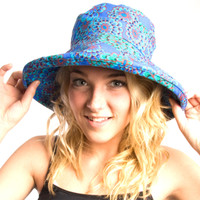Puffin Gear Garden Retreat Blue Flowers Solarweave SPF Wired Wide Brim Sun Hat Made in Canada