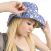 Puffin Gear Garden Retreat Blue Circles SPF Wired Sun Hat Wide Brim Turned Up Solarweave Made in Canada