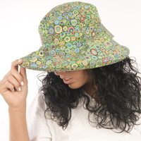 Puffin Gear Garden Retreat Green Circles Flowers Designs Solarweave SPF Wide Brim Wired Sun Hat Made in Canada