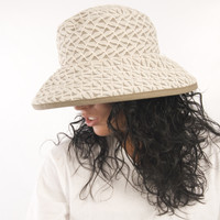 Puffin Gear Lawn Party Mocha Cream Triangle Geometric Solarweave SPF Wired Wide Brim Sun Hat Made in Canada