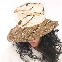 Puffin Gear Garden Retreat Brown Sparrow Twigs Wood Grain Orange Blossoms Solarweave SPF Wide Brim Wired Classic Sun Hat Made in Canada
