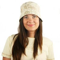 Puffin Gear Garden Retreat Tan Khaki Brown Floral Solarweave SPF Cloche Sun Hat Made in Canada