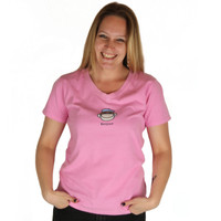 Life is Good Monkey Pink V Neck Tee Semi-Fitted Crusher Top Soft Stretchy T-Shirt Bonjour Singe