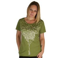 Life is Good Good Karma Organic Palm Green Hearts Tree Leaves Short Sleeve Ladies T-Shirt Gathered Scoop Neck Smocked Shoulders Relaxed Fit Top Womens Tee