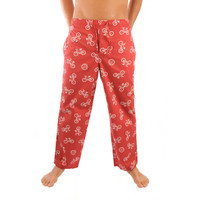 Life is Good Radish Red Bike White Bicycle Bike Icon Pajama Lounge Sleep Pants Sleepwear PJs Mens Loungepants Front