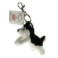 "Stuffed Animal House 4""  Striding Black White Husky Dog Keychain Wild Zipper Pull Mini Key Chain Tiny Soft Furry Fuzzy Clip Backpack Critter"
