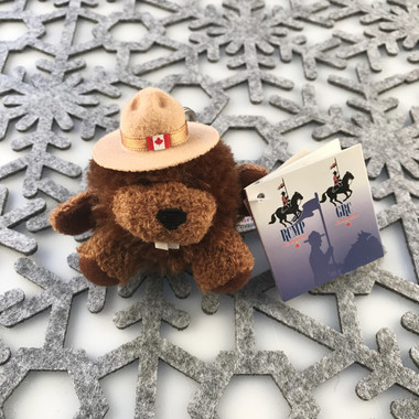 """Stuffed Animal House 3.5"""" Sitting RCMP Police Beaver Round Keychain Wild Zipper Pull Mini Maple Leaf Flag Stetson Hat Key Chain Tiny Soft Furry Fuzzy Clip Backpack Critter Canadian Wildlife Canada Front"""