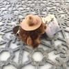 """Stuffed Animal House 3.5"""" Sitting RCMP Police Beaver Round Keychain Wild Zipper Pull Mini Maple Leaf Stetson Hat Key Chain Tiny Soft Furry Fuzzy Clip Backpack Critter Canadian Wildlife Canada Side"""
